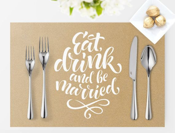 placemat printable wedding sign instant download digital file diy vintage collection wedding signage white text with kraft image