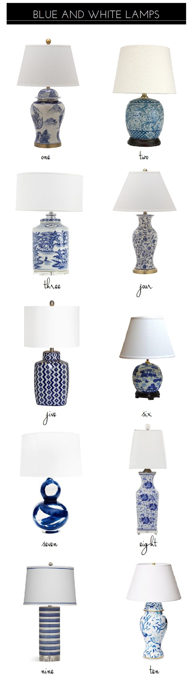 10 Classic Blue And White Lamps - blue and white lamps (product source list in blog post). Emily A. Clark | www.bocadolobo.com/ #lighting ideas #lighting