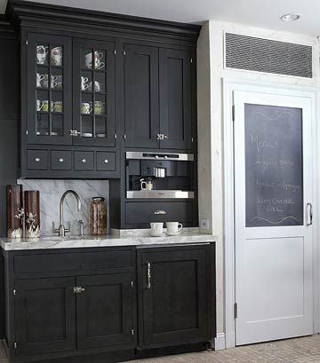 It has always been a dream of mine to have a bar area. I think they're sophisticated, beautiful, and not to mention, functional. It saves space for the kitchen. This one would be perfect for me if there was a visible wine rack for bottle storage!