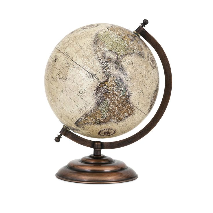 Add international style to your desk or tabletop with this traditional world globe in a neutral colorway on a metal stand in an oil-rubbed bronze finish. Accent Type: Globes Material: Iron, Plastic, P