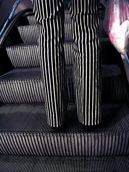 The colors and stripes in this photo almost match up perfectly. I like how he adds a little humor into his photos. It messes with your eyes a little bit.