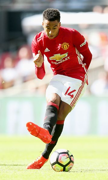 Jesse Lingard of Manchester United scores his sides first goal during The FA Community Shield match between Leicester City and Manchester United at...