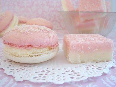Coconut Ice macarons