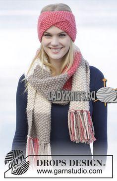 вязаная спицами повязка и шарф