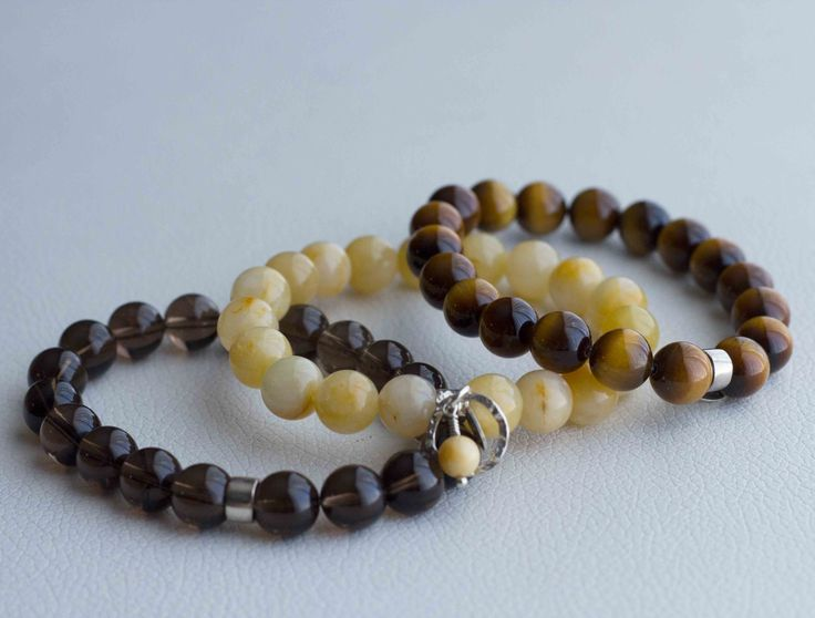 Essence Bracelets- Healing Inspired Jewelry. The Grounding Trio. Handmade gemstone bracelets of Grounding, Calm, and Courage ♡. Visit our full collection of energy healing bracelets at http://www.essencebracelets.com/shop/
