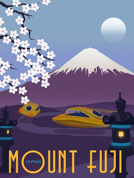 Steve Thomas Art & Illustration: Future Japan illustrated travel poster, Mt. Fuji