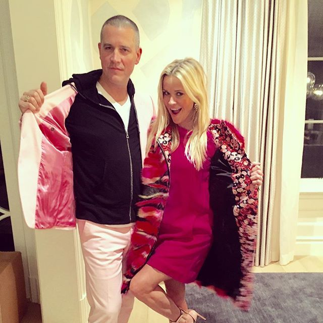 Pin for Later: Reese Witherspoon's Instagram Will Make You Fall in Love With Her All Over Again  The star cuddled up to her husband while wearing matching pink jackets.