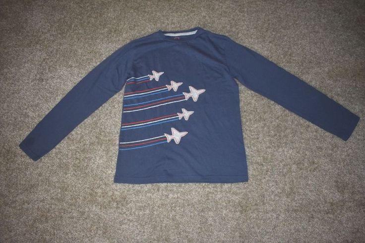 Mini Boden Boys Blue Red Applique Long Sleeve T Shirt Jet Plane Sz 11-12y #MiniBoden #TShirt #Everyday