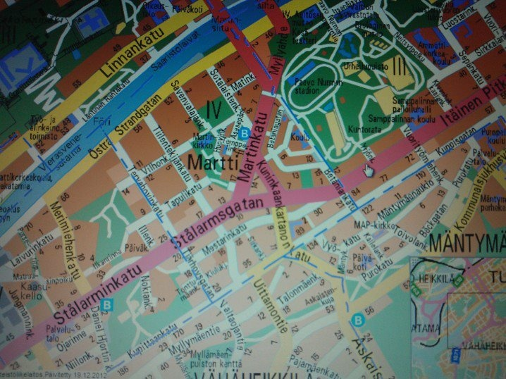 Martti, one of the smallest hoods in Turku, on a map.