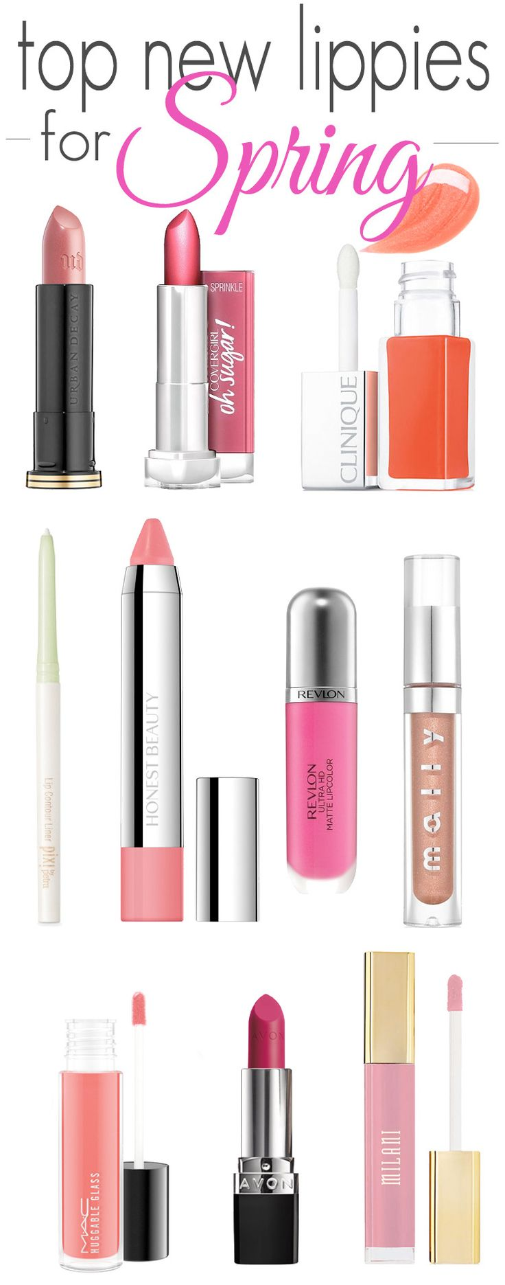 Top 10 new lip products for spring: the best lipstick, lipgloss, lipliners, lip balms and matte lipsticks that you need in your cosmetic bag for the season! Add one of these to you beauty collection today.
