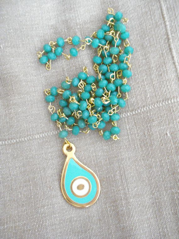Mint evil eye rosary Gold evil eye necklace Lariat mint