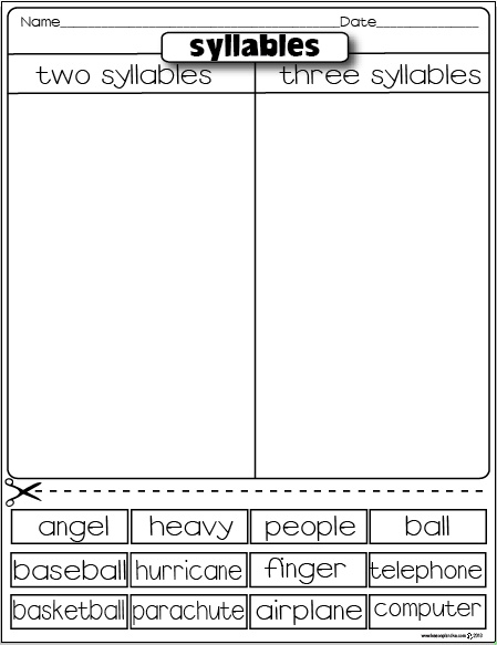Syllables freebie - plus LOTS more sorting activities on other skills
