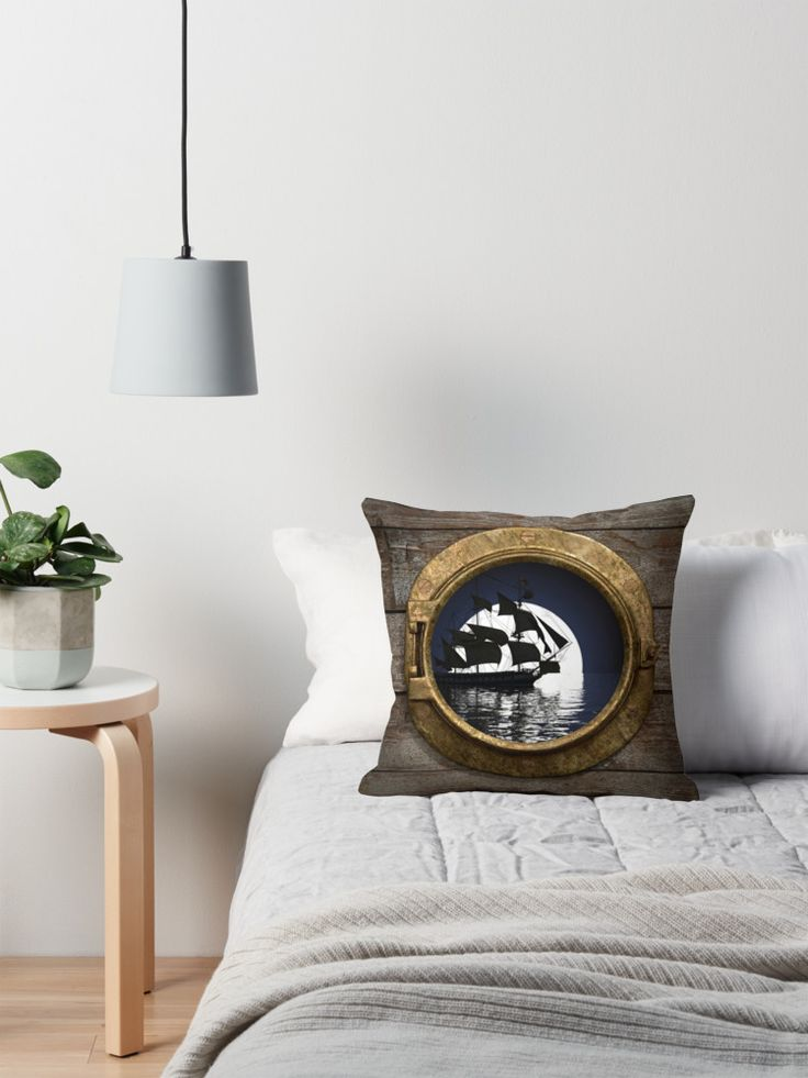 Ships Porthole - Throw Pillow #throwpillows #nautical #shipsporthole #apparel #homedecor #decorating #nauticaltheme