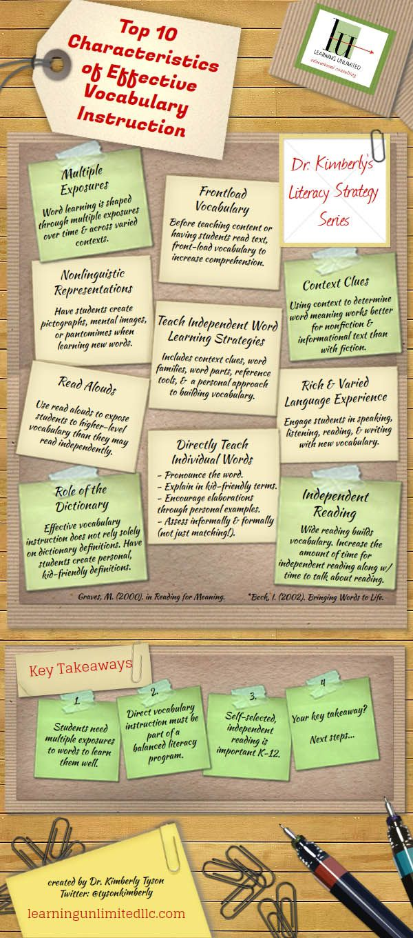 Top 10 Characteristics of Effective Vocabulary Instruction1. Multiple Exposures 2. Frontload Vocabulary 3. Context Clues 4. Non-Longuistic Representations 5. Teach Independent Word-Learning Strategies 6. Rich & Varied Language Experience 7. Read-Alouds 8. Role Of The Dictionary 9. Directly Teach Individual Words 10. Independent Reading