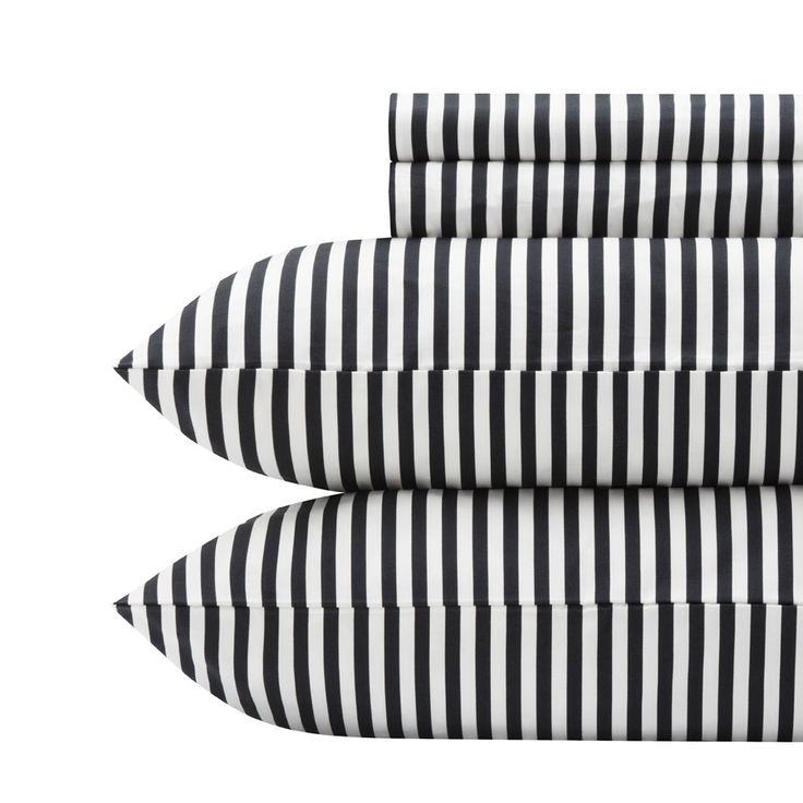 Marimekko Ajo Black Sheet Set. Black & White stripe sheets. want.