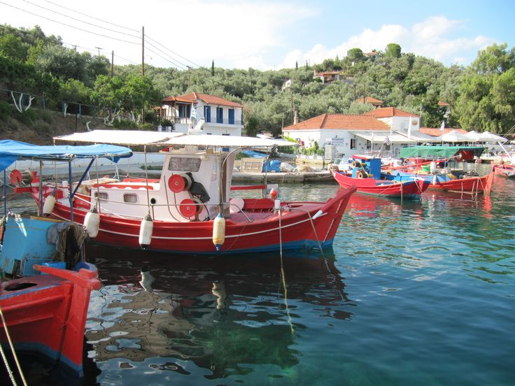 Red colour on boats at the island of Trikeri, Pelio region, Greece