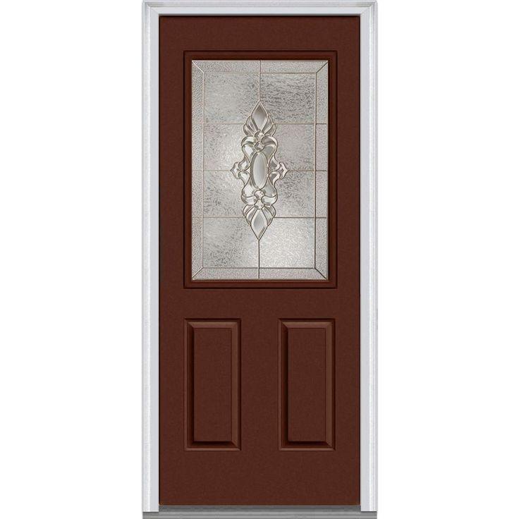 Milliken Millwork 33.5 in. x 81.75 in. Heirloom Master Decorative Glass 1/2 Lite Painted Majestic Steel Exterior Door, Redwood