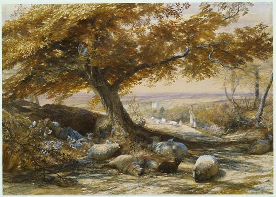 "Samuel Palmer, ""Sheep in the Shade"""