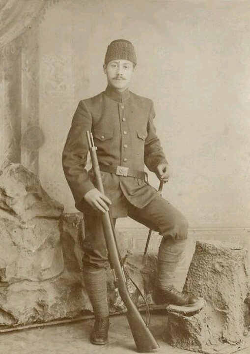 An Ottoman Soldier in Balkans  Would you look at that mustache, just look at it :)