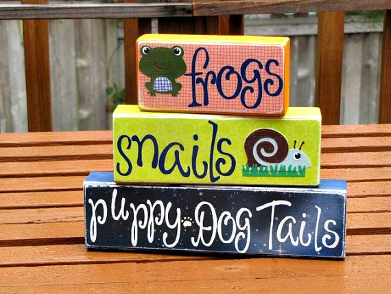 Frogs snails and puppy dog tails blockschoose by BarnOwlSigns, $20.99