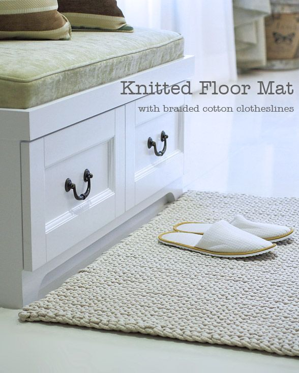 Knitted Floor Mat made with braided cotton clotheslines. So cute!