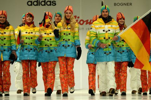 The German uniforms for the opening ceremonies of the 2014 Sochi Olympics; while the German Olympic Committee has not explicitly said so, many view the uniforms as a repudiation of Russia's anti-gay laws.