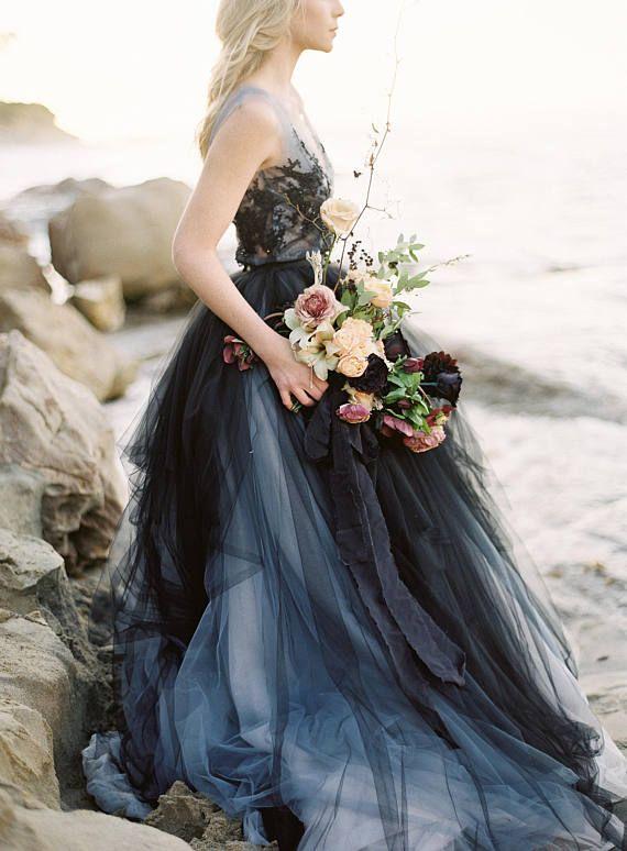 Black Lace Wedding Dress Calypso Nightfall Tulle Bridal