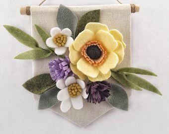 Mini feutre Floral Banner  Abricot et corail  par HavenCharlotte
