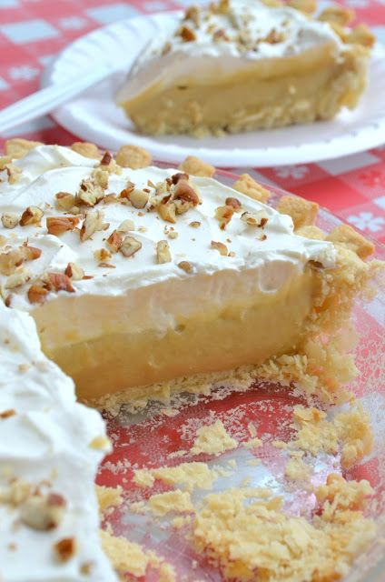 Pie on Sunday: Butterscotch at the Potluck - Homemade Butterscotch filling, whipped cream topping with chopped pecans - YUM!