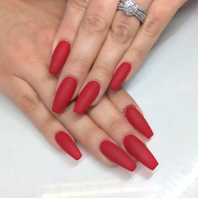 vibrant red acrylic nail design