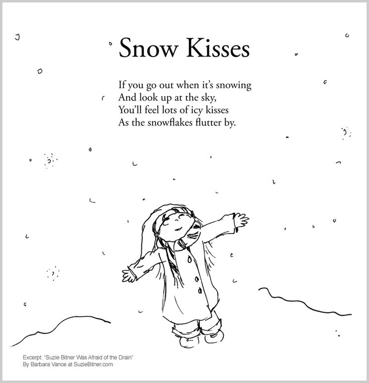 Cute Snow Kisses! Children's poem for winter. Great for school and classroom activities. common core first 1st grade, second 2nd grade, third 3rd grade reading #ESL