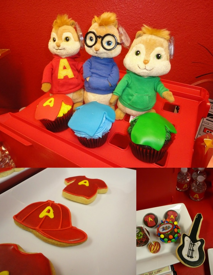 MKR Creations: Alvin and the Chipmunks Party Theme. Love the cupcakes and cookies!