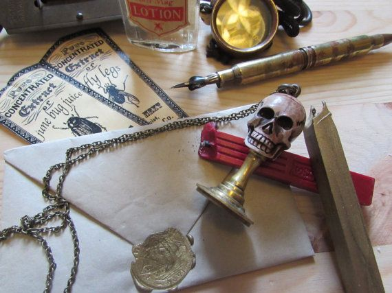 Memento Mori Antique Skull and brass wax seal by Freaklikemee