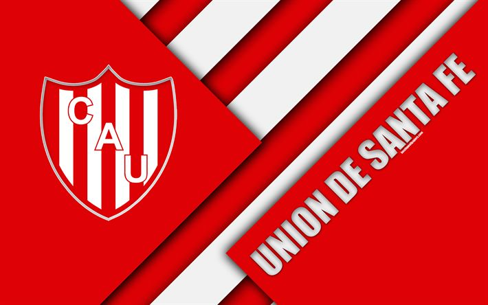 Download wallpapers Union de Santa Fe, Argentine football club, 4k, logo, emblem, material design, white red abstraction, Santa Fe, Argentina, football, Argentine Superleague, First Division
