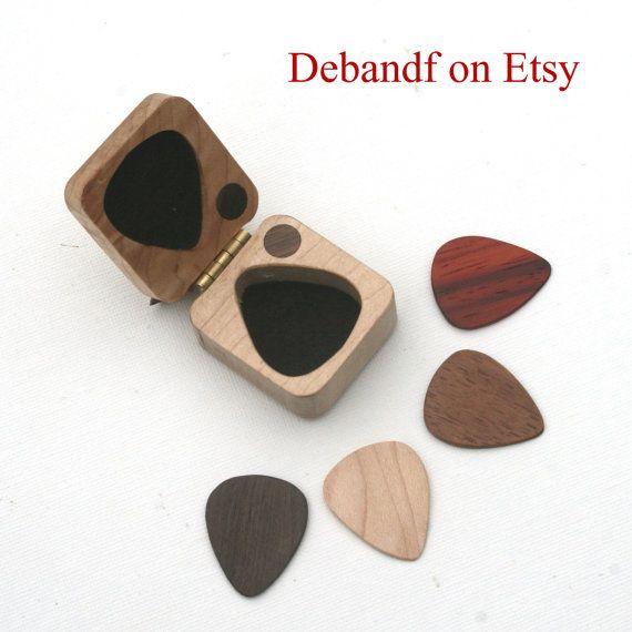 Guitar picks & box set ooak Oregon myrtle hard wood felt lined magnetic latch perfect musician gift
