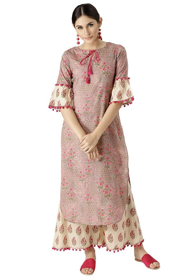 d04c0bbd7b Womens Cotton Printed Pathani Kurta And Palazzo | Salwar suit in 2019 | Salwar  suits, Salwar suits party wear, Salwar suits simple