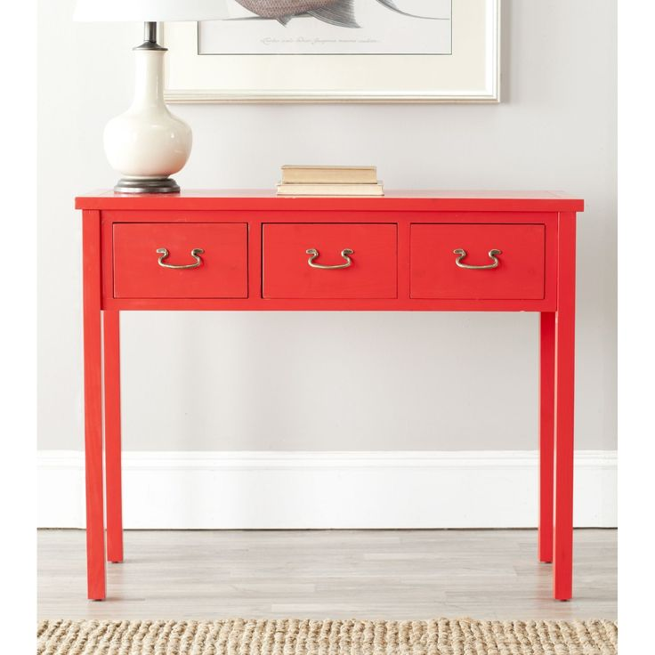 The Cindy console, with slightly tapered legs, just right red finish and three drawers for stashing, has a basic, easy-going appeal. Perfect for country, beachy or casual settings, the console is crafted from pine wood.