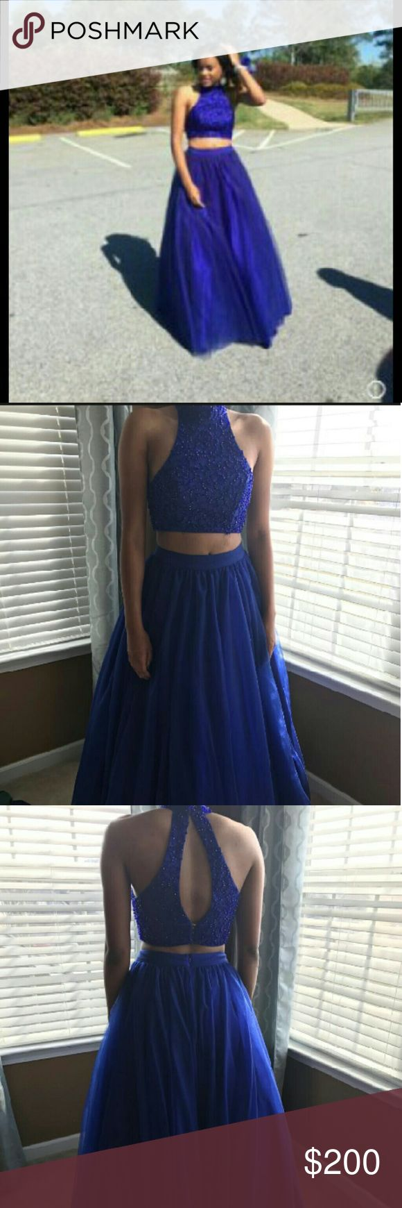 FINAL SALE!! PROM DRESS Beautiful Royal Blue Prom Dress,Beaded Top only Worn Once This Is A Two Piece Dresses Prom