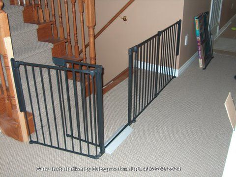 Extra Wide Baby Gate around stair opening.