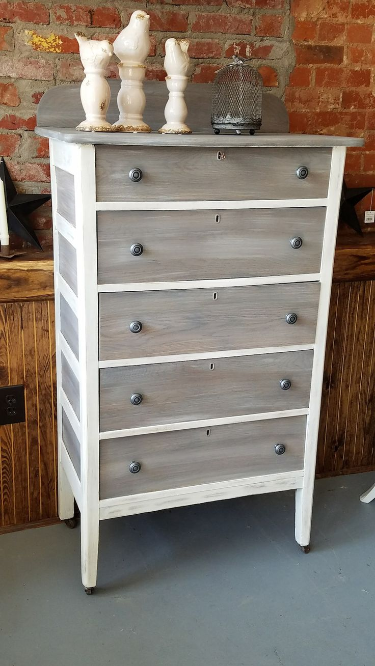 WE KILLED ANOTHER ANTIQUE! No. We gave this previously abused piece a new life with a fresh coat of Dixie Belle Paints in Fluff and a wet wash of the drawers in Hurricane, Driftwood and Fluff. Another perfect repurpose from Just Repurpose in Hanceville, AL.