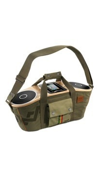 Bag of Riddim™ Portable Audio System has an iPhone and iPod doc, and a fashionable design to turn a wait at a bus stop in any country into a party! #portableaudio