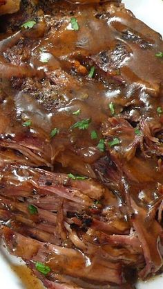 Crockpot Melt in Your Mouth Pot Roast - This recipe has proven to produce thee best pot roast I've ever made. Every component is pure perfection. The meat is juicy and fall-apart tender. The vegetables are cooked just right and are full of flavor. The seasonings are simply spot on and the broth yields a fabulous gravy-like sauce that is divine when poured over everything prior to serving.