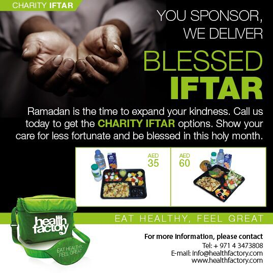 #Ramadan is all about giving back to the #society. What better way, to give back by #donating #healthy #meal boxes to the less #fortunate. Health Factory's unique initiative of 'You Sponsor, We Deliver', allows you to #donate meal #boxes to a charity of your choice.   All you have to do, contact us and tell us how many meal boxes, you want to donate and to which #charity. Call us on 043473808  and 043232400 or email on info@healthfactory.com. Ramadan Kareem! #RamadanKareem…