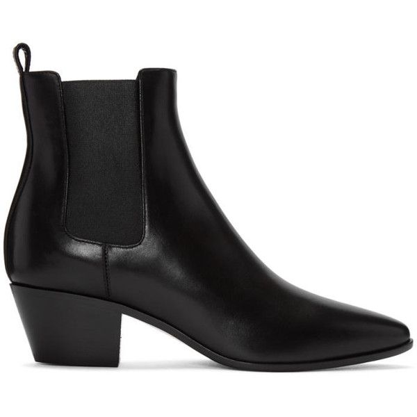 Saint Laurent Black Leather Rock Boots (18,055 MXN) ❤ liked on Polyvore featuring shoes, boots, ankle booties, black, leather sole boots, chelsea boots, beatle boots, cuban heel boots and black pointed toe booties