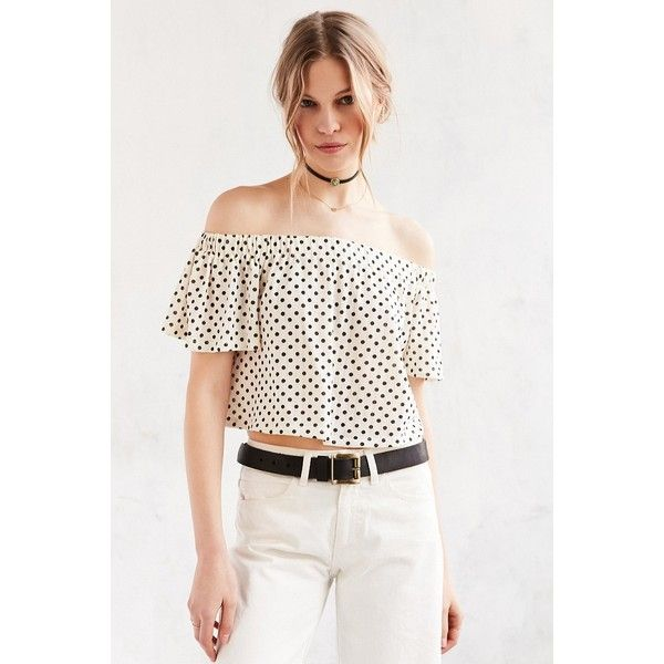 Kimchi Blue Jena Off-The-Shoulder Top ($44) ❤ liked on Polyvore featuring tops, strapless top, white short sleeve top, off shoulder crop top, stretchy tops and white off shoulder top
