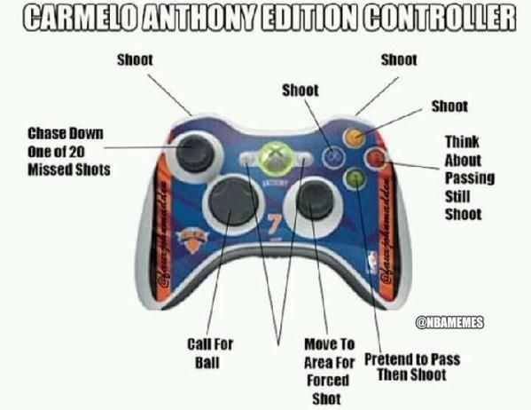 Carmelo Anthony: The Controller edition! - http://nbafunnymeme.com/nba-news-and-higlights/carmelo-anthony-the-controller-edition