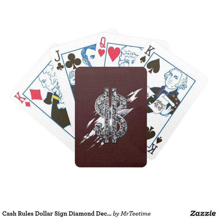 Cash Rules Dollar Sign Diamond Deck Of Cards Poker Karten