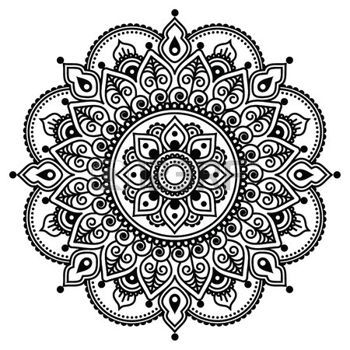 mandala black and white: Mehndi, Indian Henna tattoo pattern or background Illustration