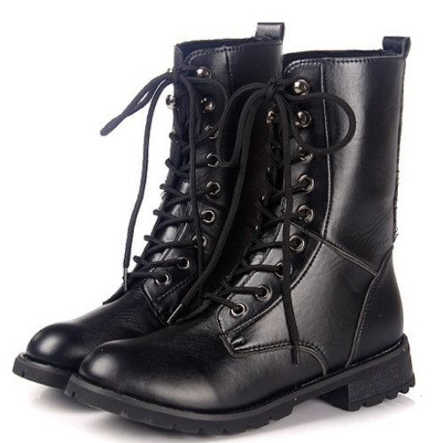 69ab399dc884 Black Motorcycle Boots Lace Up Ankle Boots Pu Leather Shoes Woman 3302 3302