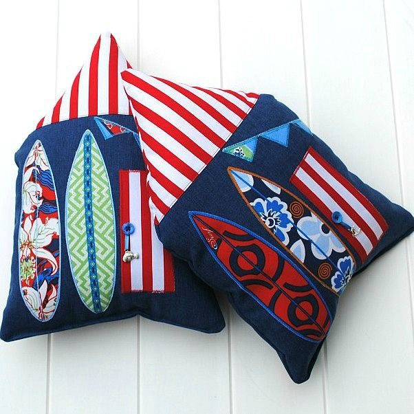 Decorative beach house cushions available at www.madeit.com.au/WitchingHourBags